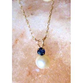 Collar Zafiro Solitario Con Perla Cadena Cuerda 45cm Oro 10k