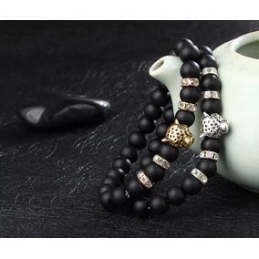 Pulsera Bangle Moda Lujo Tendencia Hombre Mujer Piedra Negro