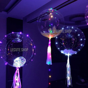 Globos Transparentes Luz Led 40 Cm Fiesta Decoracion Neon