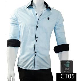 Camisa Peruanas Atacado - Camisa Social Manga Longa Masculinas Azul ... 77bcd37d3c0