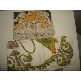 2 Lindos Lenços De Cabeça Encharpe Seda - Assinados Bellotti