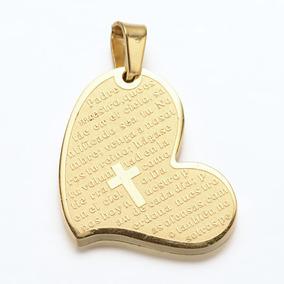 Cadena Con Dije Corazón Padre Nuestro Acero Inoxidable 316l