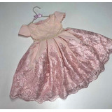 Vestido De Festa Infantil Rosa Princesa Tam 1 Ano