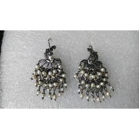 Aretes De Filigrana De Plata Oxidada Pavoreal Con Perlas