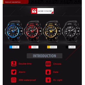 Relógio Masculino Skmei 1155 Cor Preto/azul/amarelo/vermelho