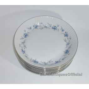Platos Hondos Porcelana Tsuji Flores Celestes Reposición