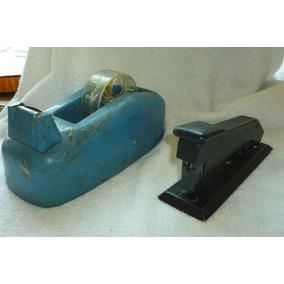 Grampeador E Porta Durex Em Metal