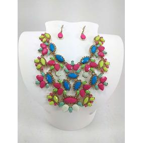 Collar De Piedras De Colores Llamativos Con Aretes