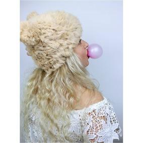 Gorro Piel Conejo Extra Suave Moda Mujer Lujo Invierno