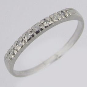 Anel Meia Aliança De Ouro Branco 18k Com Diamantes - Joias e ... e6e70ba9b4