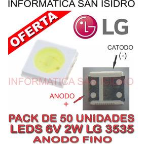 Pack 50 Led 6v 2w 3535 Backlight Leds Tv Lg Anodo Fino