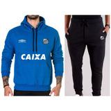 7bba7851b1d46 Kit   Blusa + Calça Moletom Santos Time Futebol Moleton