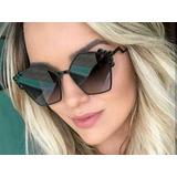 570adcb85be2d Óculos De Sol Gatinho Detalhe De Bolinhas Metal Com Brinde