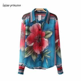 Camisa Feminina Estampa Flor - Chiffon De Seda. Pronta Entr