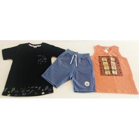 Roupa Infantil Menino Kit 2 Camisetas E 1 Bermuda Moleton f8bcb002b6963
