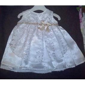 Vestido De Bebe 0 A 3m En Razo Blanco Con Detalles En Ocre