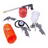 Kit Pistola Pintura Com 5 Acessórios P/ Compressor Mtx