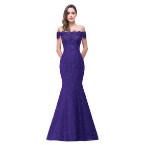 Hermoso Vestido De Noche Solo Color Azul Talla 12