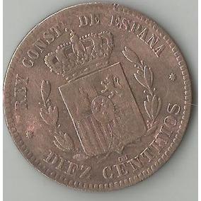 Moeda Bronze 10 Dez Diez Centimos 1878 Espanha