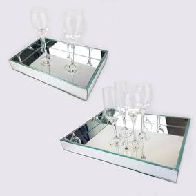 Kit 2 Bandejas Espelhadas Para Sala Jantar Mesa Cozinha
