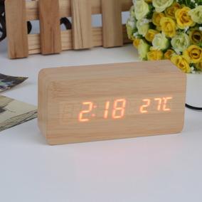 Relógio Despertador Mesa Digital Madeira Com Sound Control