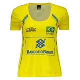 10e001c3f4 Camisa Brasil Vôlei Cbv Feminina Amarela Original Pronta Ent