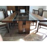 Mesa De Madeira E Vidro De 12 Lugares Com 12 Cadeiras