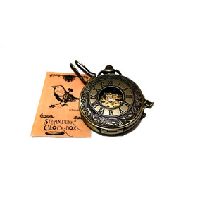 Reloj Oro Viejo De Bolsillo Skeleton De Cuerda Steampunk 0095d4d0c9af