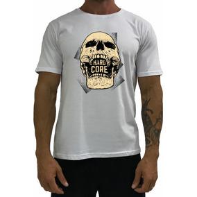 91693dce9 Camiseta Masculina T-shirt Branca Lateral Caveira Hardcore