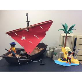 Playmobil Barco Navio Pirata Com Ilha Pirata + 2 Piratas