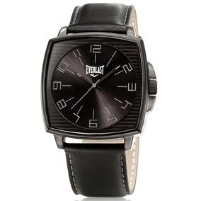 858bcae0ca3 Relógio Everlast E124 Preto Inox Couro Caixa Novo - Relógio ...
