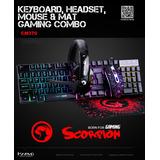 Combo Gamer Para Computadora, Teclado, Mouse, Audifono, Pad