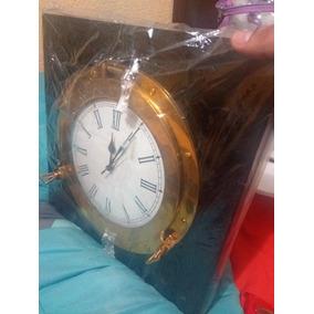 Reloj Marino Claraboya Ojo De Buey Barco En Base De Madera