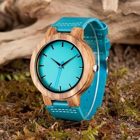 Relógio Madeira Azul Frete Grátis