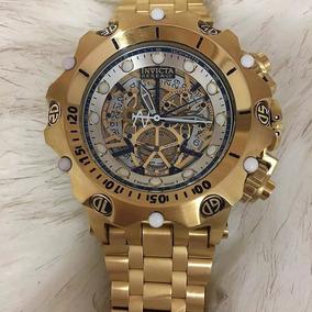 92b4b74d676 Relógio Pa085 Invicta Venon Hibrid Esqueleto Dourado + Caixa