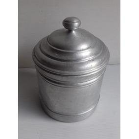 Antiguo Tarro Aluminio Puro Mariposa Con Tapa Tacho Cocina