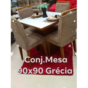 Conjunto De Mesa Com 4 Cadeiras Tampo Offwhite 12x