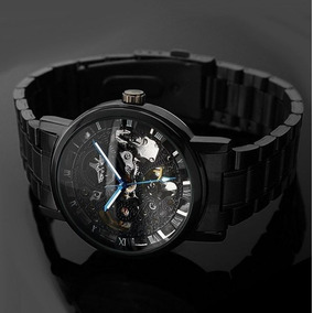 Reloj Automatico Skeleton Hombre, Acero Inox + Caja De Piel