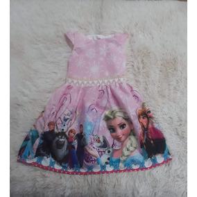 Vestidos Temático Frozen Rosa E Azul 1 Ao 10