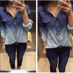 Camisa Blusa Jeans Duas Cores Feminina Moda Roupas Promoção