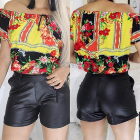 Kit 12 Short Feminino Cintura Alta Couro Fake Tecido Cirre