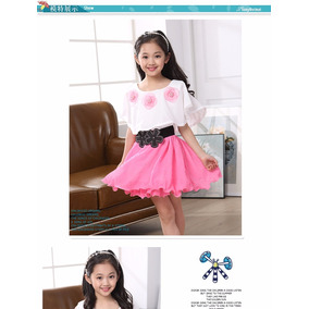 Vestido Princesa Menina Infantil Rosa/branco Flores