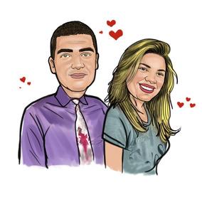 Caricatura Casal Em Amor Romantico Namorados Noivos Etc
