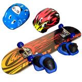 Patineta Skate Tabla 78x 20cm Casco Y Protecciones Fiestacl