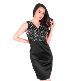 1e6e15033 Vestido Negro Con Detalle Satinado Color Perla - Ropa