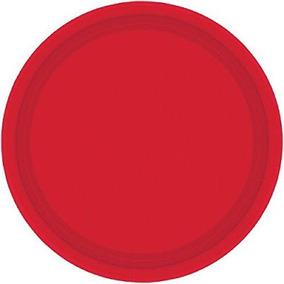 40 Platos Grandes De Plastico Desechable Fiesta Color Rojo