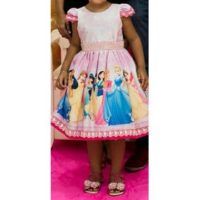 cb198ef37 Vestido Princesas Disney Tamanho Veste Do 4 A 6 Usuado 1vez