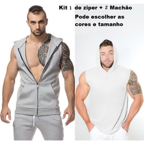 e152be46ba7bc Camiseta Regata Capuz Bolso Canguru - Camisetas no Mercado Livre Brasil