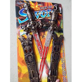 Set Caballero Guerrero 2 Espadas Con Fundas Cosplay Disfraz d43e6d124170