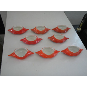 Raridade Antigo Kit 8 Potes Tigelas Casquinha Siri Porcelana